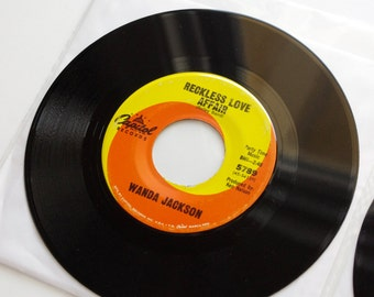 Vintage Wanda Jackson 45's - 1960's - Two Wanda Jackson Records - Both Sides of the Line and Reckless Love Affair