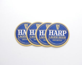 Vintage Harp Beer Coasters - Set of 4 - Vintage Bar, Beer Advertising