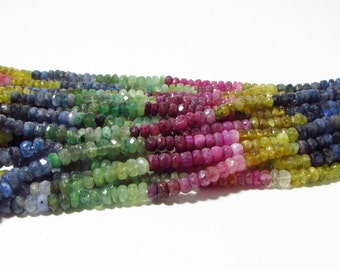 Rare Untreated Natural Multi Gem Ruby Sapphire Emerald Faceted Rondelle Beads Strand 3mm - 4mm