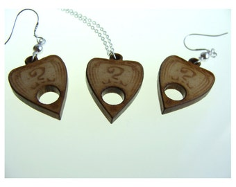 Ouija Board Planchette Necklace and Earrings Set