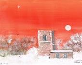 Skeffling Church - Winter Dawn - Original Acrylic Painting