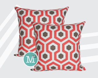 Bittersweet Pink & Brown Magna Honeycomb Pillow Covers - 20 x 20 and More Sizes - Zipper Closure