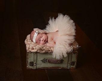 Cream tutu set, feather headband, ivory tutu set, beige tutu set, photo prop, newborn photo prop, newborn tutu set, newborn tutu, ivory tutu