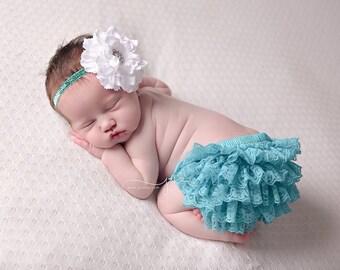 Teal ruffle bum Bloomer, teal bloomer set, newborn photo prop, photography prop, newborn diaper cover, teal ruffle bloomer