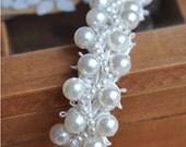 Pearl beaded lace trim, beading trim, for bridal sash, bridal belt, wedding belt