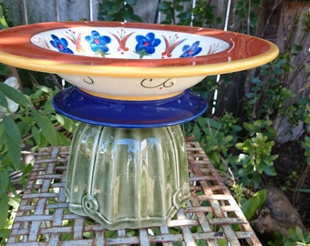 Blue Flower Bowl on Stand