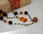 Boho double strand gemstone chain necklace Black spinel rosary chain Venetian glass bead onyx topaz crystal Semi precious stone jewelry