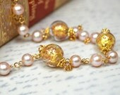 Pale pink gold Venetian glass necklace Blush pink pearl chain necklace Murano glass beaded chain necklace Fashion Italian Venetian jewelry