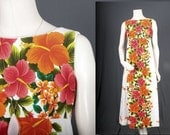 Floral dress Hawaii Hawaiian white orange flower power maxi dress vintage 70s Bohemian Boho Gypsy women size S small