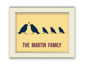 Custom Family Art Printable - Bird Family art printable. Custom Colors. Great gift for parents, grandparents, newlyweds, extended family.