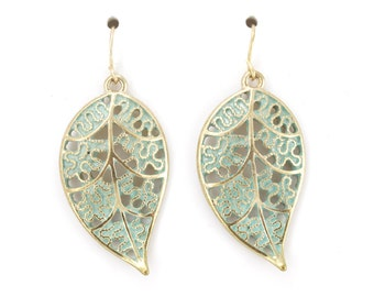 Vintage Feel Gold tone Green Enamel Leaf Dangle Drop Earrings,G4