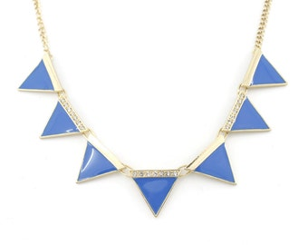 Beautiful Gold-tone Blue/Pink Triangle/Pyramid Funky Statement Necklace,P2