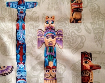 Totem Pole Fabric - A Little Over a Yard, Cotton