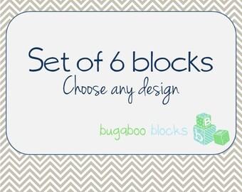 Set of 6 Blocks - Custom design