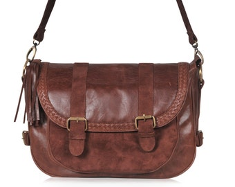 EVERMORE. Leather messenger bag / women messenger bag  / leather cross body messenger bag / crossbody. Available in different leather colors