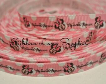 """3/8"""" Ribbon by the yard  Disney Minnie Mouse pink white Polka dot  Ribbon -Hair bows WHolesale by Ribbon Lane Supplies"""