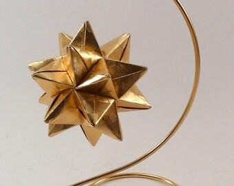 Small Christmas Ornament, Origami Star, Chistmas Star, Gold Star Ornament, Origami Ornament