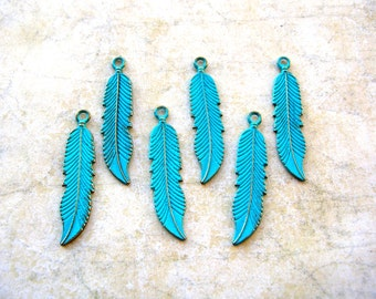 2 Sided Bohemian Feather Charms - Blue Feather Charm Lot - Boho Feather - Jewelry Supplies