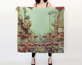 Photo Print Silk Scarf  Chinatown Red Lanterns Fine Art Photo  OOAK  San Francisco Print  Pale Green and Red   Gift For Her  3 Sizes