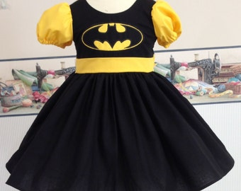 Super Hero Dress, Batman Dress, Batman Costume, Batman Custom Dress, Children Size, Comic-con Batman, Pretend Batman, Dress-up