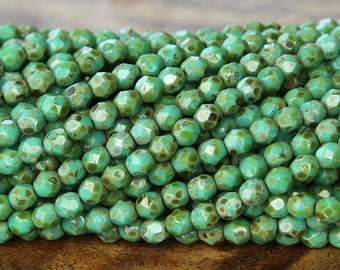 Opaque Turquoise Picasso Czech Glass Beads, 4mm Faceted Round - 100 pcs - eT6313-4
