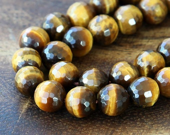 Tiger Eye Beads, Honey Yellow, 10mm Faceted Round - 15 Inch Strand - eGF-TE001-10