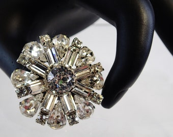 Signed Weiss Clear Rhinestone Brooch Pin Costume Jewelry 1950s Madmen Glamourous Glam