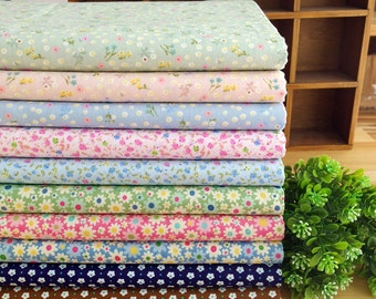 10 pieces Twill Pastoral style Floral pattern Group Series Color Collection Cotton Cloth Quilt Fabric-DIY Handmade Fabric Cloth