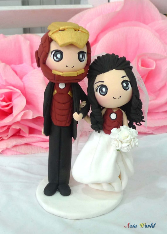 Iron Man Wedding Cake Topper Clay Doll Engagement Clay