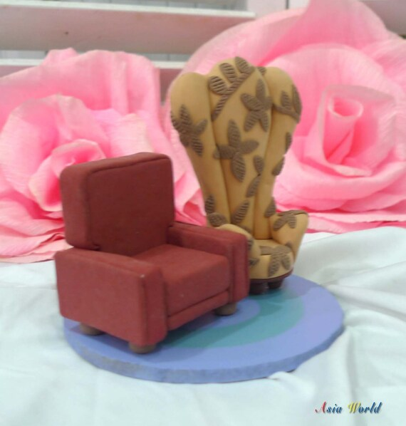 Carl And Ellies Chairs In UP Wedding Cake Topper Clay Doll Miniature Engagement Decorclay Figurine Ring Holderclay Couple