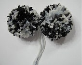 Black and White Yarn Pom Poms Handmade - Set of 2 Large
