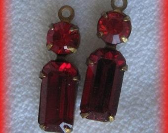 Swarovski Crystal Siam Red Multi Stone Rhinestone 19MM Brass Connector Rectangle