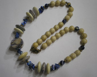 REDUCED Vintage Sterling Silver Vermeil Lapis Jasper Bead Necklace 21 Inches 91 Grams