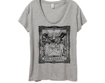 Womens TAROT CARD Boho Gypsy Bohemian Oversized Slouchy Short Sleeve Tee T shirt screen print Top Alternative Apparel S M L XL More colors