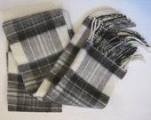 "Christian Dior Scarf  Plaid 100% Lambswool Fringe Gray White  Unisex Length - 55"" Vintage E921s"