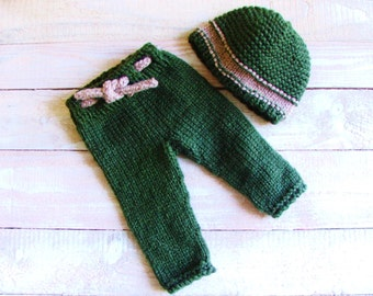 Baby Boy Photo Prop - Hand Knitted Forest Green Hat and Pants Set - Size 3 to 6 Months Hat and Trousers