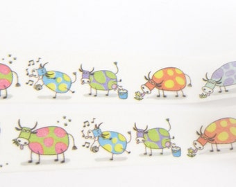 Funny, Cartoon Cow Washi Tape - X1209