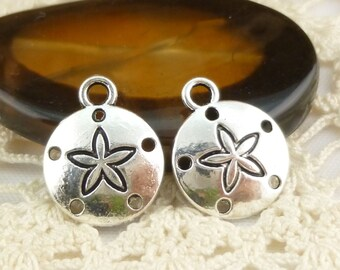Whimsical Connector Sand Dollar Shell Charms, Antiqued Silver (8) - S178