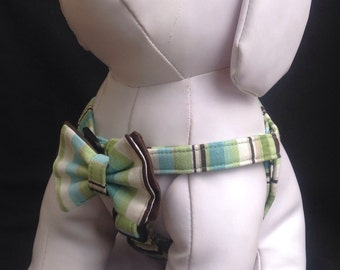Step in Dog Harness Bow Tie Set/ Green  Stripes - Size XXS, XS, S, M
