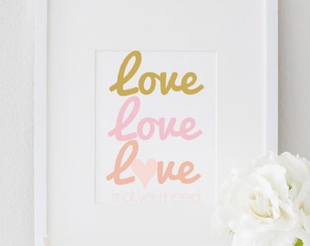 Inspirational Love Typography Quote Motivational Wall Print Home Decor. Love is All You Need Art Print 8x10, Pink Love Print to for Chic