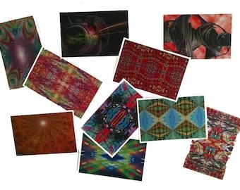 """Set of 10+ Fractal Art Postcards, 4"""" x 6"""" Symmetrical Card Lot for Mailing"""
