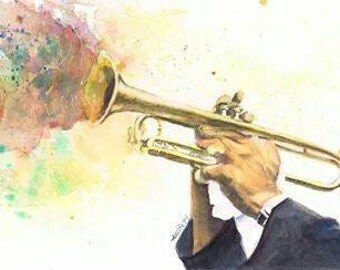 Satchmo- a 6 x 12 painting of Louis Armstrong in watercolor