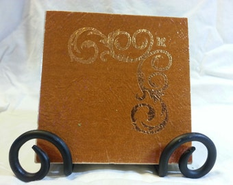 Golden 0rane   textured  Custom Made Ceramic Tile Coasters set of 4