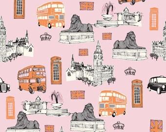 Fat Quarter British Invasion London Scenes Bus Quilting Fabric Riley Blake C3840