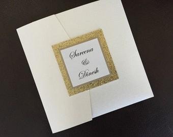 Wedding Invitation Suite in gold glitter and gold leaf pocket folder