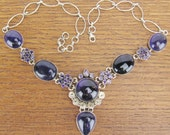 Amethyst Sterling Silver necklace vintage bib runway style cosplay jewelry 925 big chunky