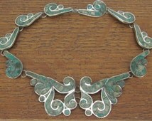 Sterling Silver Necklace Vintage Mexican Necklace turquoise stone inlay, jewelry hand made 925 Taxco Mexico 1940's