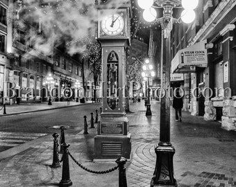 Steam clock Vancouver British Columbia Canada Gastown night photography fine art print Black and White