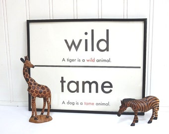 VINTAGE FLASH CARD - Wild Tame - Dog Lover - Antonym - Art Print - Room Decor - 11 x 14 - Black White - Industrial - Sign