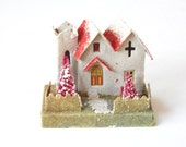 VINTAGE PUTZ HOUSE - Church - Red White - Pink Bottle Brush Tree - Mica Glitter - Cardboard - Great for Christmas Village